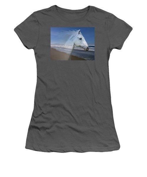 Equine Shores Women's T-Shirt (Junior Cut) by Athena Mckinzie