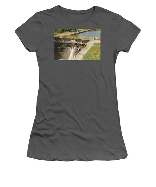 Women's T-Shirt (Junior Cut) featuring the photograph Erie Canal Lock by William Norton