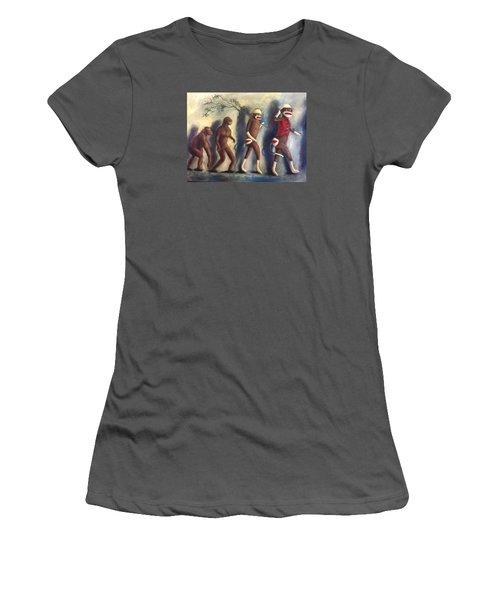 Women's T-Shirt (Junior Cut) featuring the painting Evolution by Randol Burns
