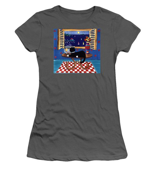 Women's T-Shirt (Junior Cut) featuring the painting Eye On Lunch by Lance Headlee