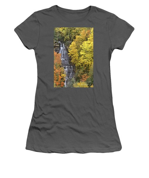 Fall Color Surrounds Chapel Falls On The Michigan Upper Peninsula Women's T-Shirt (Athletic Fit)