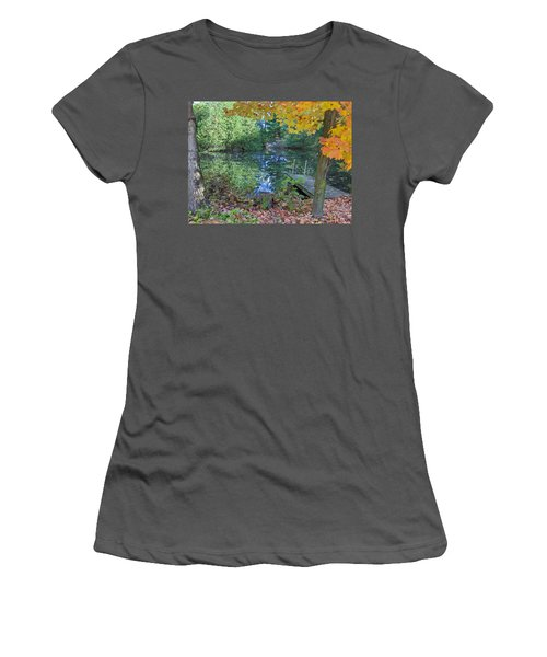 Women's T-Shirt (Junior Cut) featuring the photograph Fall Scene By Pond by Brenda Brown