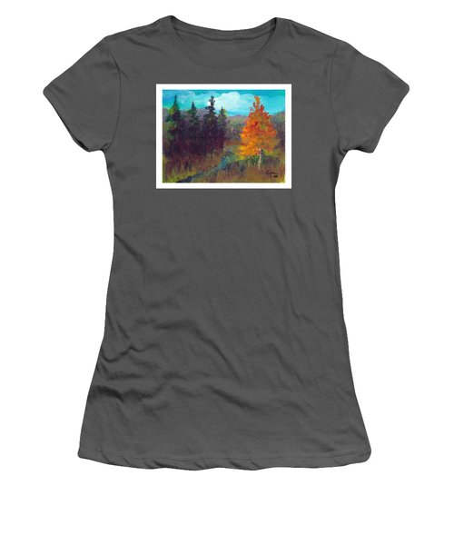Women's T-Shirt (Junior Cut) featuring the painting Fall View by C Sitton