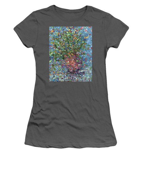 Women's T-Shirt (Junior Cut) featuring the painting Falling Flowers by James W Johnson