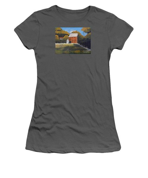 Farm With Red Barn Women's T-Shirt (Athletic Fit)