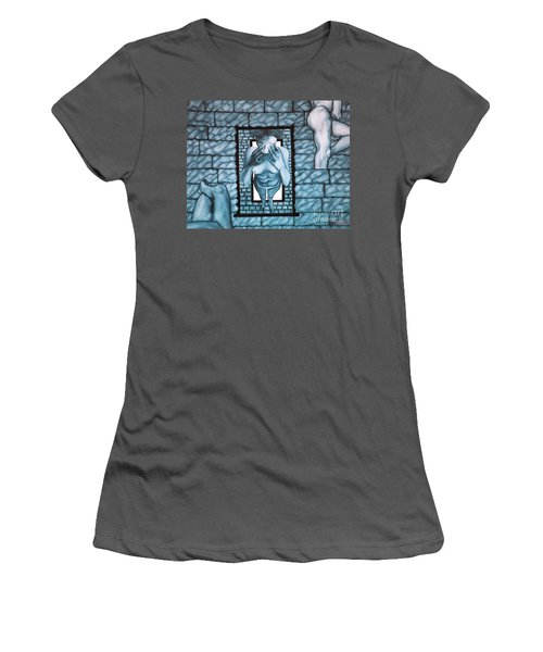 Women's T-Shirt (Junior Cut) featuring the painting Female's Gray World by Fei A