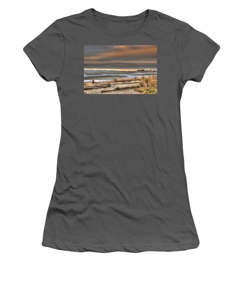 Fiery Sky Over The Salish Sea Women's T-Shirt (Junior Cut) by Randy Hall