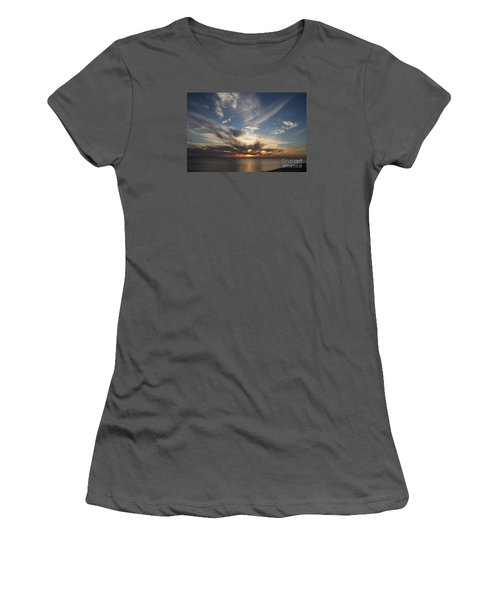 Women's T-Shirt (Junior Cut) featuring the photograph Fiery Sunset Skys by Christiane Schulze Art And Photography
