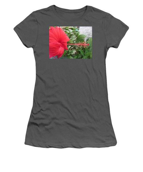 Fire And Ice Hibiscus Women's T-Shirt (Athletic Fit)