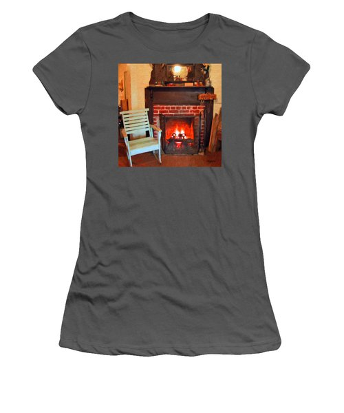 The Family Hearth - Fireplace Old Rocking Chair Women's T-Shirt (Athletic Fit)