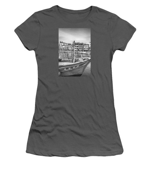 Fishing Boat B W Women's T-Shirt (Athletic Fit)