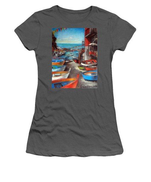 Fishing Boats In Riomaggiore Women's T-Shirt (Junior Cut)