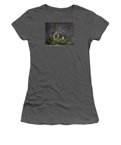 Women's T-Shirt (Junior Cut) featuring the painting Fishing For Supper On Cannock Chase by Jean Walker