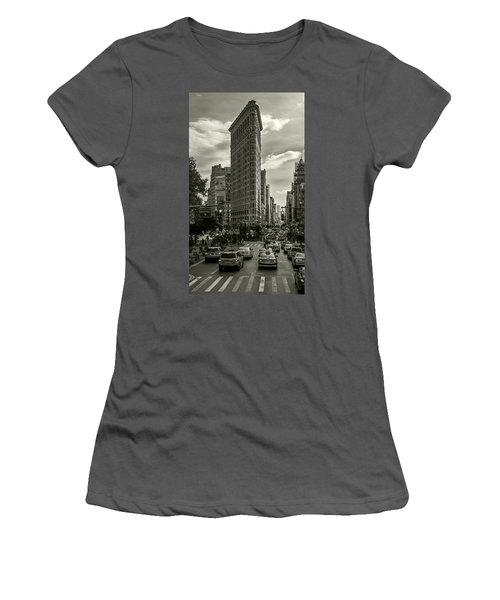 Flatiron Building - Black And White Women's T-Shirt (Athletic Fit)