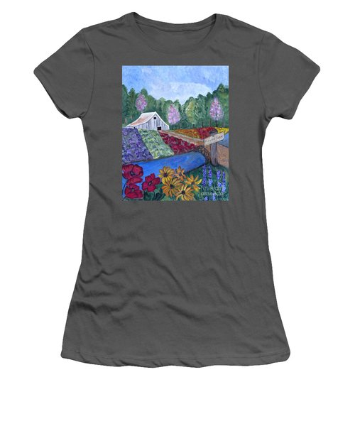 Women's T-Shirt (Junior Cut) featuring the painting Flower Farm -poppies Daisies Lavender Whimsical Painting by Ella Kaye Dickey