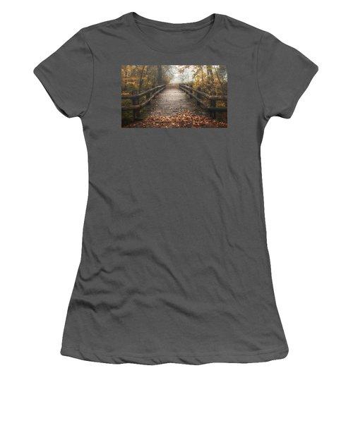 Foggy Lake Park Footbridge Women's T-Shirt (Athletic Fit)