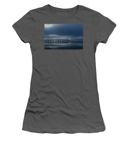 Women's T-Shirt (Junior Cut) featuring the photograph Foggy Mirrored Navarre Bridge At Sunrise by Jeff at JSJ Photography