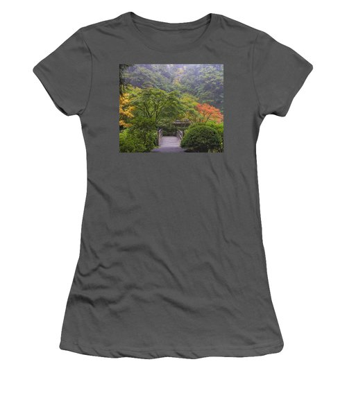 Foggy Morning In Japanese Garden Women's T-Shirt (Athletic Fit)