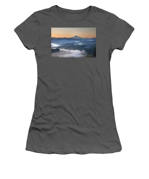 Women's T-Shirt (Junior Cut) featuring the photograph Foggy Sunrise Over Sandy River And Mount Hood by JPLDesigns