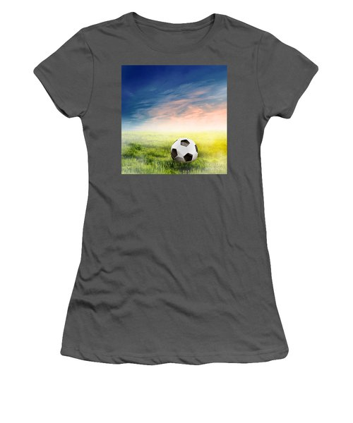 Football Soccer Ball On Green Grass Women's T-Shirt (Athletic Fit)