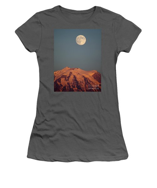 Full Moon Over Mount Rainier Women's T-Shirt (Athletic Fit)