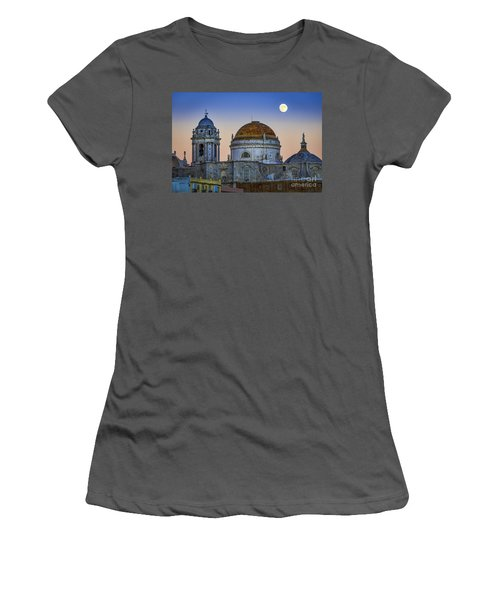 Full Moon Rising Over The Cathedral Cadiz Spain Women's T-Shirt (Junior Cut) by Pablo Avanzini