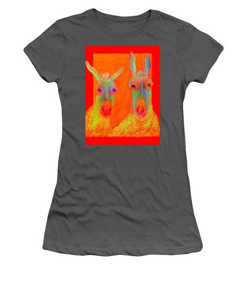 Funky Donkeys Art Prints Women's T-Shirt (Athletic Fit)