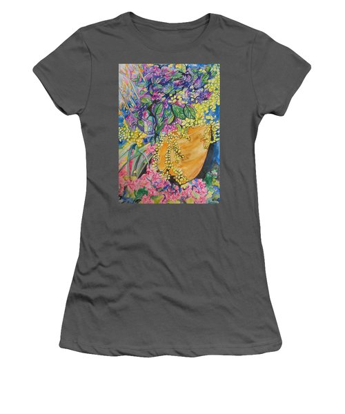 Garden Flowers In A Pot Women's T-Shirt (Junior Cut) by Esther Newman-Cohen