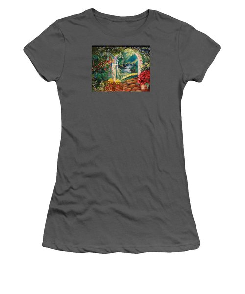 Women's T-Shirt (Junior Cut) featuring the painting Garden Of Serenity Beyond by Jenny Lee