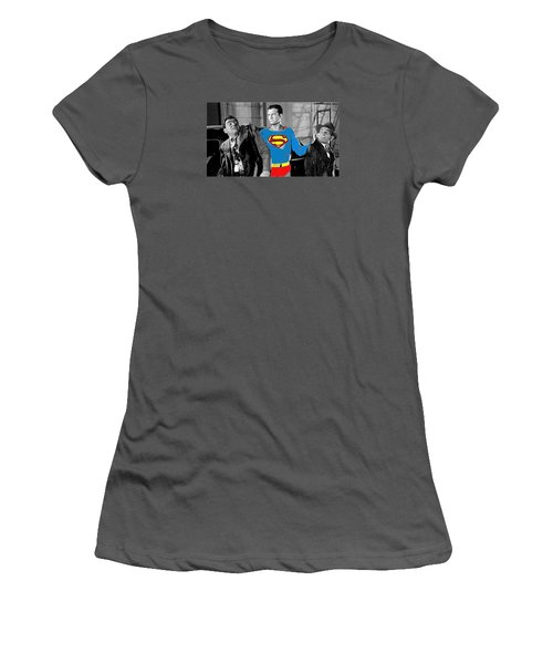 George Reeves As Superman In His 1950's Tv Show Apprehending Two Bad Guys 1953-2010 Women's T-Shirt (Athletic Fit)