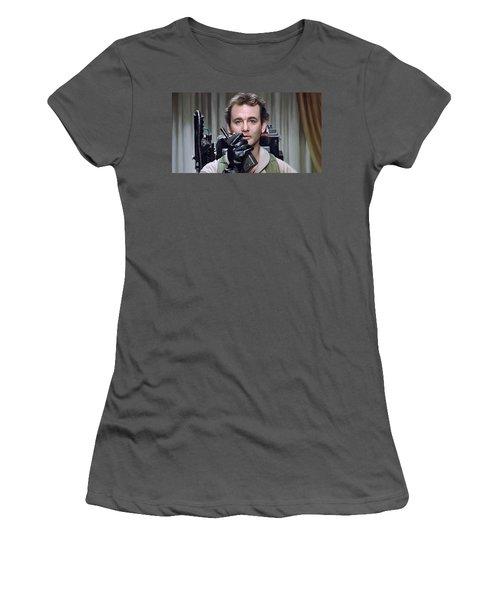Women's T-Shirt (Junior Cut) featuring the painting Ghostbusters - Bill Murray Artwork 1 by Sheraz A