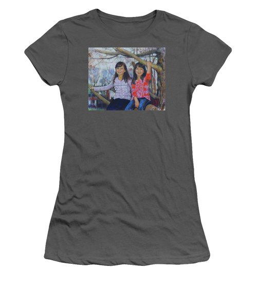 Women's T-Shirt (Junior Cut) featuring the drawing Girls Upon The Tree by Viola El