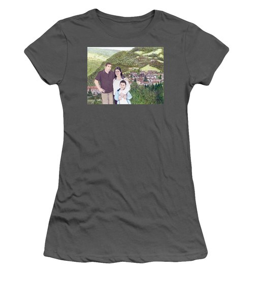 Women's T-Shirt (Junior Cut) featuring the painting Giusy Mirko And Simone In Valle Castellana by Albert Puskaric