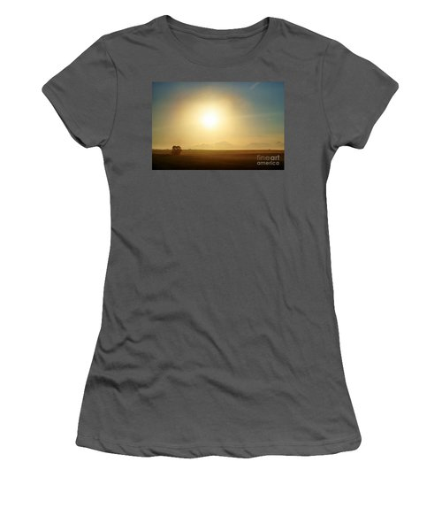 Women's T-Shirt (Junior Cut) featuring the photograph Golden Sunset by Judy Palkimas