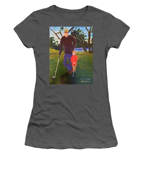 Women's T-Shirt (Junior Cut) featuring the painting Golfing by Donald J Ryker III