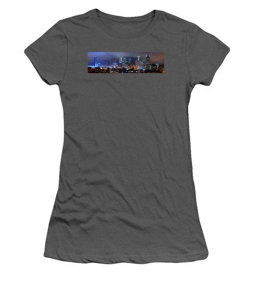 Gotham City - Los Angeles Skyline Downtown At Night Women's T-Shirt (Junior Cut) by Jon Holiday