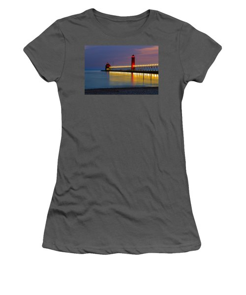 Grand Haven South Pier Lighthouse Women's T-Shirt (Athletic Fit)