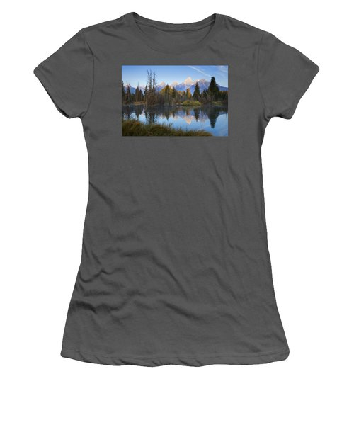Women's T-Shirt (Junior Cut) featuring the photograph Grand Teton Morning Reflection by Sonya Lang