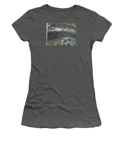 Great Blue Heron In Flight Women's T-Shirt (Junior Cut) by Ian Donley