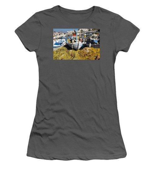 Greek Fishing Harbour Women's T-Shirt (Athletic Fit)