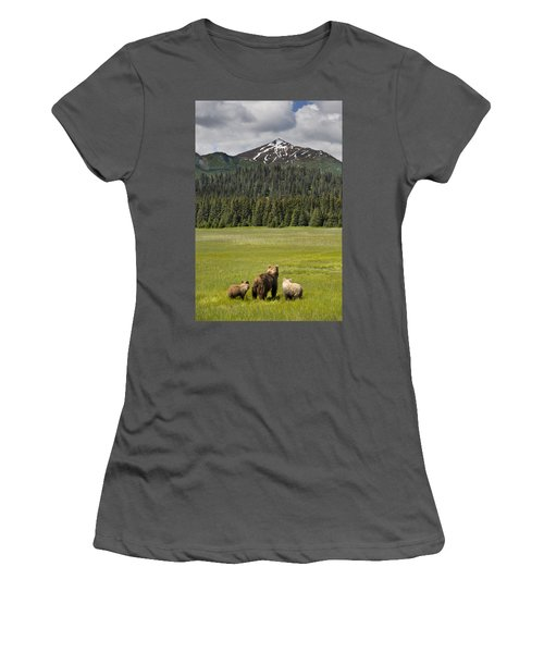 Grizzly Bear Mother And Cubs In Meadow Women's T-Shirt (Athletic Fit)