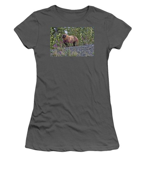 Grizzly Women's T-Shirt (Junior Cut) by David Gleeson