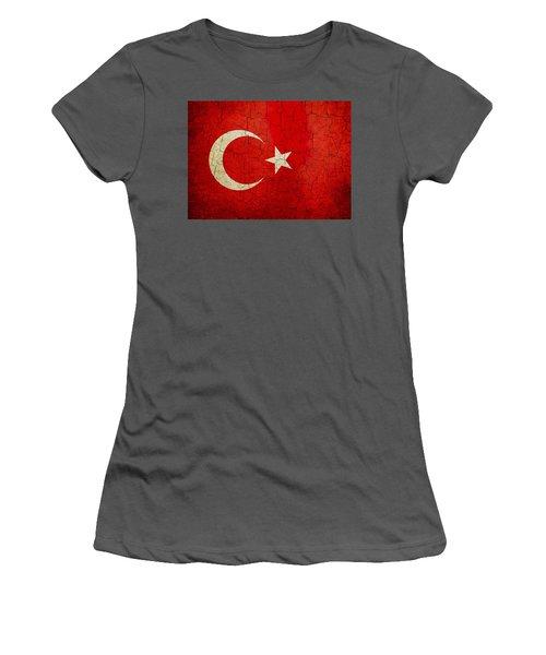 Grunge Turkey Flag Women's T-Shirt (Athletic Fit)