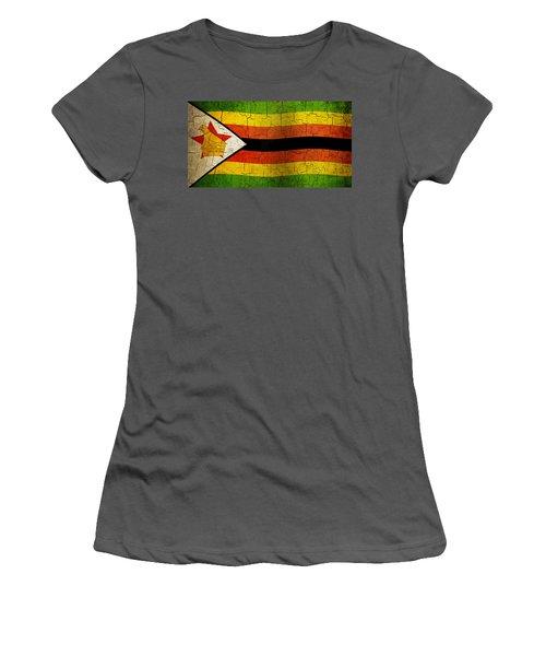 Grunge Zimbabwe Flag Women's T-Shirt (Athletic Fit)