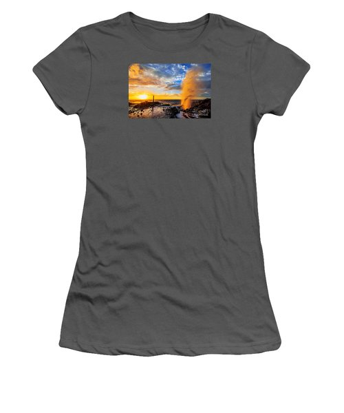 Women's T-Shirt (Junior Cut) featuring the photograph Halona Blowhole At Sunrise by Aloha Art