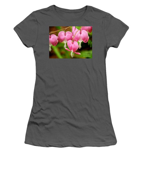 Hanging Hearts In Pink And White Women's T-Shirt (Athletic Fit)