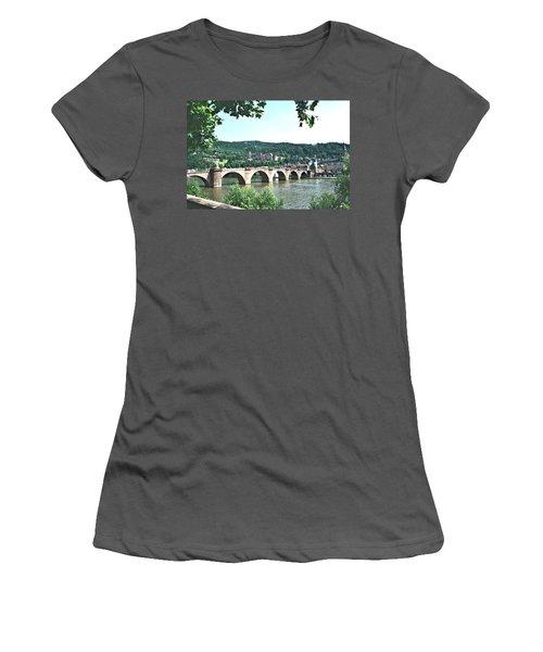 Heidelberg Schloss Overlooking The Neckar Women's T-Shirt (Junior Cut) by Gordon Elwell
