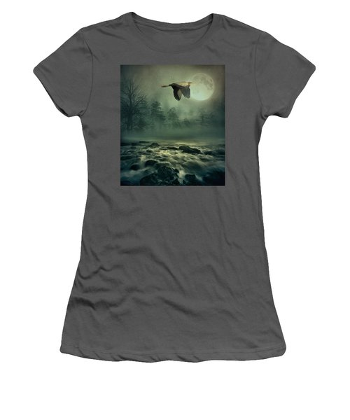 Heron By Moonlight Women's T-Shirt (Athletic Fit)
