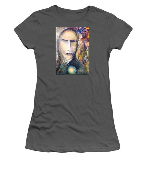 Women's T-Shirt (Junior Cut) featuring the painting Hollow Man  by Kicking Bear  Productions