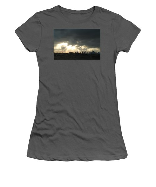 Houston Refinery At Dusk Women's T-Shirt (Junior Cut) by Connie Fox